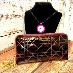 Christian Dior zippy wallet with necklace